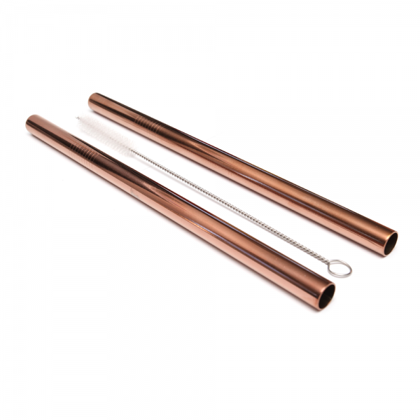 activated eco smoothie-stainless-steel-straw-rose-gold-two-pack